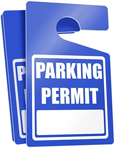 """Parking Permit Hang Tags (Blue) - 50 Tough Thick Re-Usable Weatherproof Passes for Car Or Vehicle Rear View Mirror/Perfect for Employees, Residents, Tenants and More 3"""" x 5"""" by MESS"""