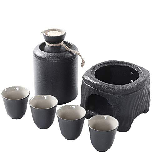 Honoen Set de Regalo Profesional para Servir Sake de cerámica de Estilo japonés con Calentador, Juego de Sake Premium de 7 Piezas en cerámica esmaltada Negra, Lugar de Entretenimiento