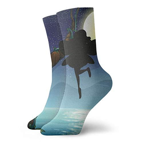 Calcetines, hada en la naturaleza, calcetines deportivos, calcetines informales, calentadores de poliéster, 30 cm, para hombre y mujer