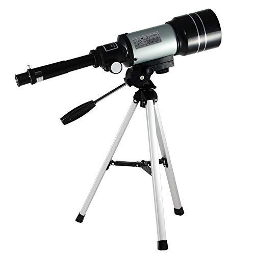LEDU Telescopio astronómico 150X Espacio Profesional (300/70mm) monocular, con trípode portátil Profesional niños Adultos Moon Star Point