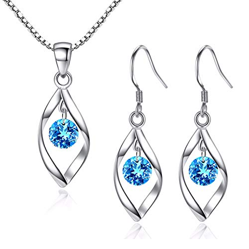 Zolkamery Jewellery Set for Women, 925 Sterling Silver Pandent Necklace and Drop Hook Earrings Set with 5A Blue Cubic Zirconia, Hypoallergenic Perfect Gift for Girlfriend Wife on Valentine's day