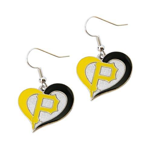 aminco MLB Pittsburgh Pirates Swirl Heart Sports Team Logo Dangle Earring Charm Gift Set