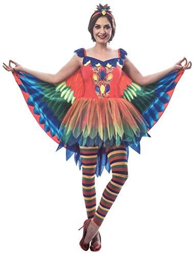 Brandsseller Damen Kostüm Papagei Verkleidung Karneval Party Fasching Junggesellinnenabschied L/XL