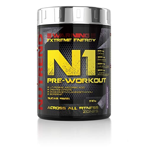 Nutrend N1 510g Blue Raspberry Flavour pre-workout, Beta-alanine, AAKG Taurine DMAE