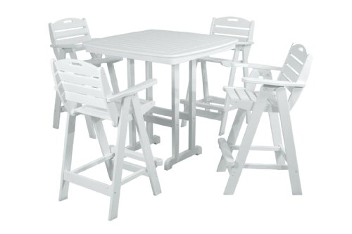 Hot Sale POLYWOOD PWS144-1-WH Nautical 5-Piece Bar Set with Table and Chair, White