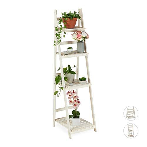 Relaxdays Etagère à Fleurs, pour l'intérieur et Le Balcon, Simple et Chic, Pliante, 160x41x50 cm, 4 marches, Blanc, 160 x 41 x 50 cm