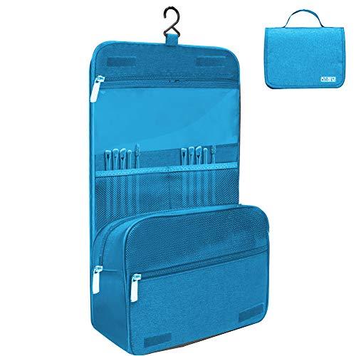 Kulturtasche zum Aufhängen Faltbarer Reise Kulturbeutel mit Tragegriff Waschtasche Premium-Qualität Waschbeutel für Männer & Frauen (blau)