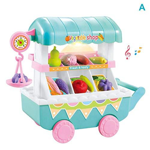 LEIXNDPLBO 1 Set Kinderen Kinderen Speelgoed Rollenspel Groenten Fruit Winkelmandje Fantasiespel met lichte muziek, lichtgrijs