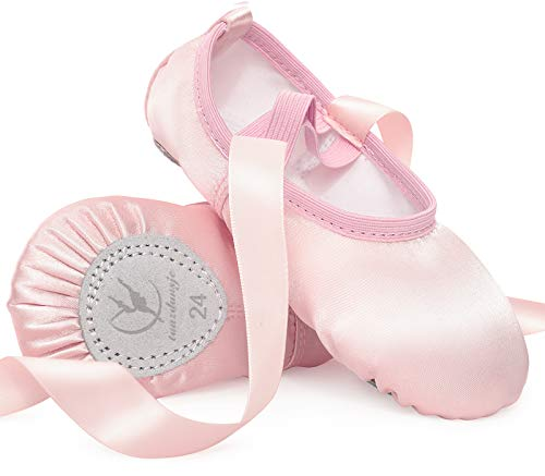 Satin Ballet Shoes Pink Ballet Dance Slippers with Ribbon Ballet Flat Leather Split Sole for Girls Women