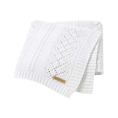 mimixiong Mantas de bebé 100% algodón puro suave de punto para bebés mantas, 100 x 80 cm (Blanco)