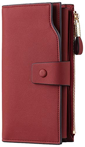 Travelambo Womens RFID Blocking Large Capacity Luxury Waxed Genuine Leather Clutch Wallet Multi Card Organizer (ReNapa Red Deep)