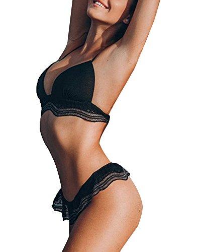 Minetom Damen Bikini Sets Push Up Gepolstert Elegant Spitze Weiß und Schwarz Neckholder Bandage Strandmode Hohe Taille Triangel Bademode Badeanzug Schwarz DE 38