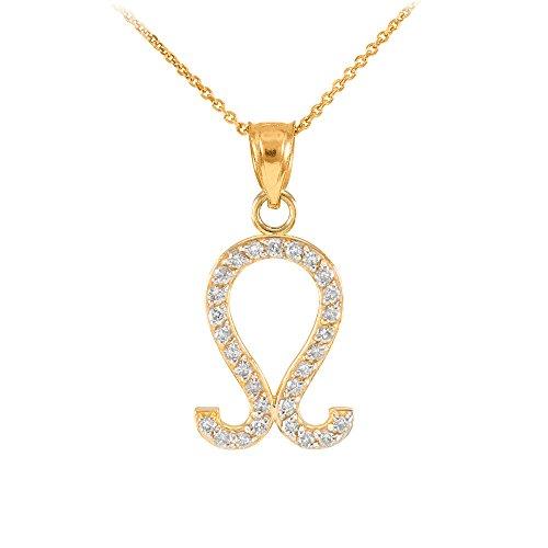 "Astrology Jewelry High Polish 14k Yellow Gold Diamond Leo Zodiac Charm Pendant Necklace, 22"""