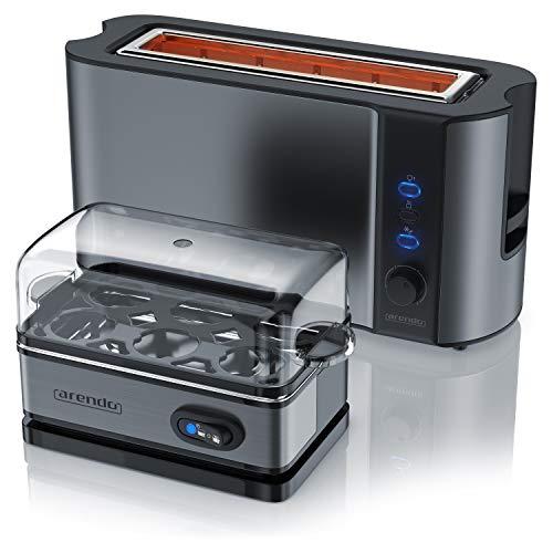 Arendo - 1000W Toster Langschlitztoaster für 2 Scheiben Toast und Brötchenaufsatz + Eierkocher für 1-6 Eier