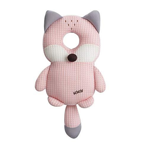 Bebamour Protección para la cabeza del bebé Suave y transpirable Soporte para la cabeza del bebé Almohada para bebés Reposacabezas anti-caídas (Pink Fox)