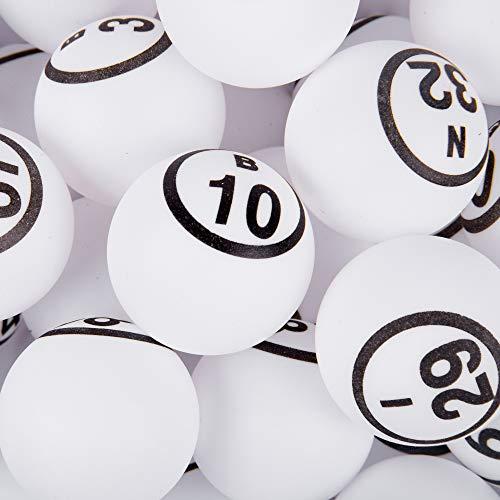 Mr. Chips Oficial Professional-Use Ping Pong Bolas de Bingo para Manual Bingo jaulas, Color Blanco Mate Acabado único número Ping Pong Juego de Pelota, Inc