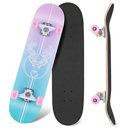 WeSkate Skateboards for Beginners 31quotx8quot Complete Skateboard Girls Boys Skate Boards 7 Layer Canadian Maple Double Kick Deck Concave Cruiser Trick Skateboard for Kids Teens Youth Adult