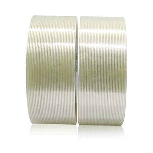 BOMEI PACK Mehrzweck Filamentband, Verstärkt Klebeband 50 mm x 50 m, 2 Rollen