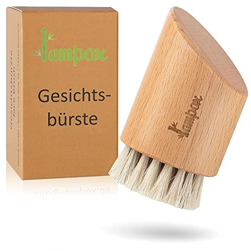 lampox® Gesichtsbürste Trockenbürste Gesicht face brush Peelingbürste Peeling Reinigung Naturborsten aus Pferdehaar Buchenholz