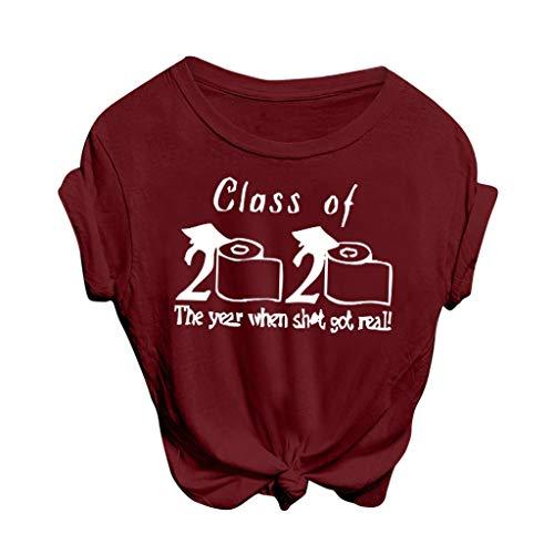 Sylar Mujer Class of 2020 Camisetas Manga Corta Alfabeto Impresión Básico Cuello Redondo T-Shirt Verano Tops