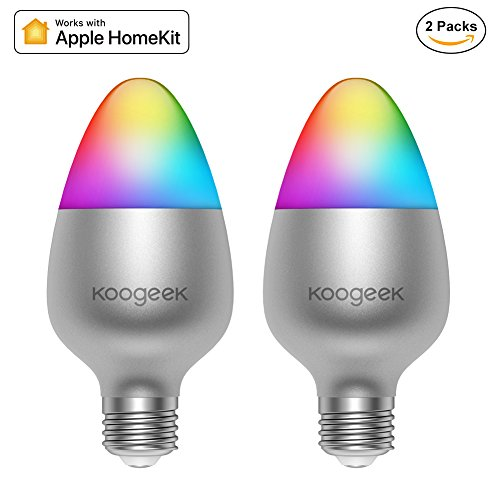 Koogeek Wi-Fi Enabled E26 8W Color Changing Dimmable Smart LED Light Bulb Works with Apple HomeKit No hub Required Support Siri Home App Schedules Timer 16 Million Colors 500LM 2700-6000K