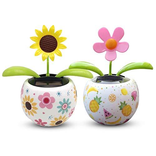 Mecmbj Wackelfigur Blume, 2PCS Solar Car Decoration Ornamente, Apple Flower Swing Autozubehör, verwendet für Car Office Desk Dekoration (Größe: 11 * 10cm)