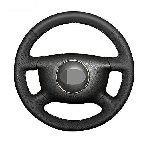 ZpovLE Cubierta Negra para Volante de Coche, Apta para Audi A8 (D2) S4 A2 (8Z) A3 (8L) Sprotback A4 (B5 B6) Avant A6 (C5)