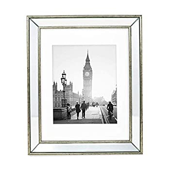 Isaac Jacobs 11x14  Matted 8x10  Silver Beveled Mirror Picture Frame - Classic Mirrored Frame w/Deep Slanted Angle Made for Wall Décor Display Photo Gallery & Wall Art  11x14  Matted 8x10  Silver