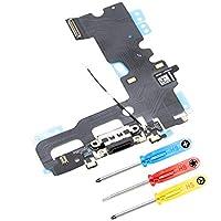 MMOBIEL Dock Connector für iPhone 7 (Schwarz / Jet Black) Ladebuchse Lade Port Anschluss Flexcable 2 x Mikrofone Antenne und Lautsprecher Homebutton Connector installiert inkl 3x Schraubenzieher Qualitativ hochwertige Professionelle Verarbeitung-Inkl...