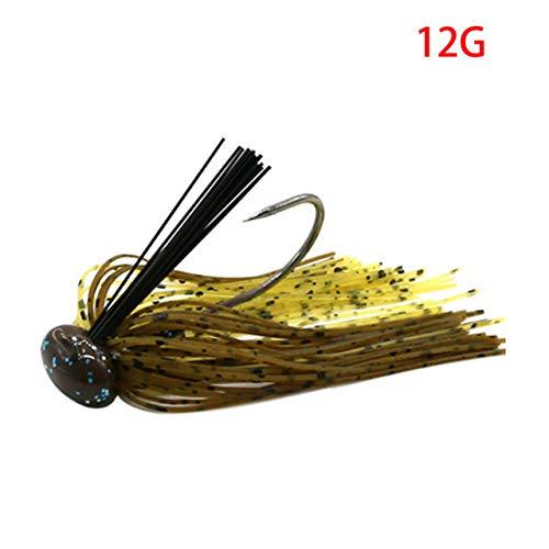 Nobrand - Señuelo de pesca para lubina, anzuelo de pesca de lucio o walleye, 01 marrón 12g