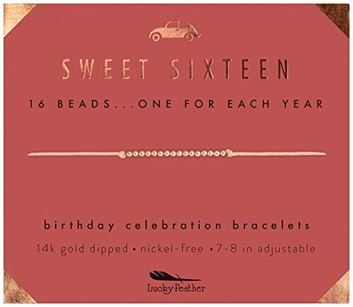 Lucky Feather Sweet 16 Gifts for Girls; 16th Birthday Bracelet Gift Idea for 16 Year Old Girls with 14K Rose Gold Dipped Beads on Adjustable Cord