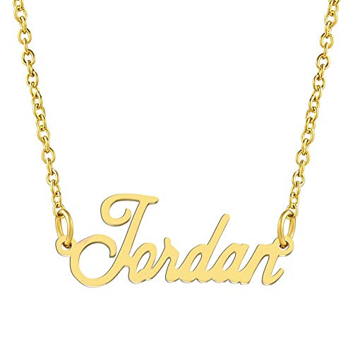 KISPER 18K Gold Plated Stainless Steel Personalized Name Pendant Necklace, Jordan