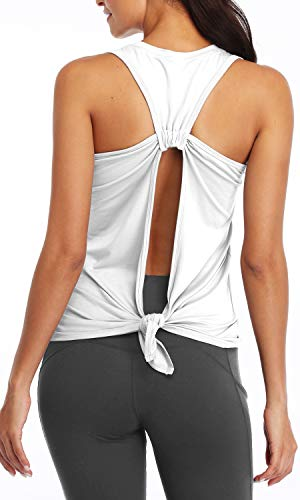 Sanutch Womens Workout Tank Tops Open Back Shirts Backless Yoga Athletic Tops Workout Yoga Outfits Yoga Clothes for Women 2020 White, Small