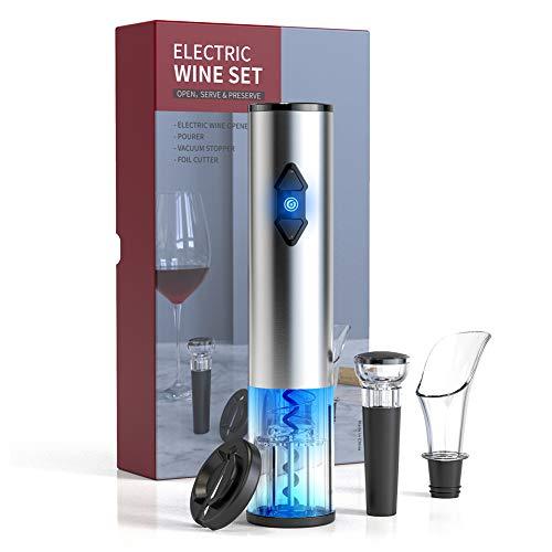 CIRCLE JOY Set med elektriska vinflasköppnare – batteridriven trådlös automatisk korkskruv öppnare dragkit med bifogad folieskärare vakuumstoppare vin luftburk, rostfritt stål