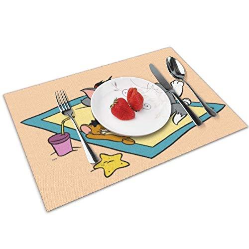 baowen Manteles Individuales de Tom y Jerry para Mesa de Comedor, Juego de 4 tapetes de Cocina Resistentes al Calor con Aislamiento Lavable, 12 x 18 Pulgadas