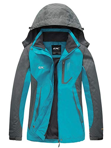 Diamond Candy Women Windproof Hooded Waterproof Rain Jacket Lightweight for Hiking Blue