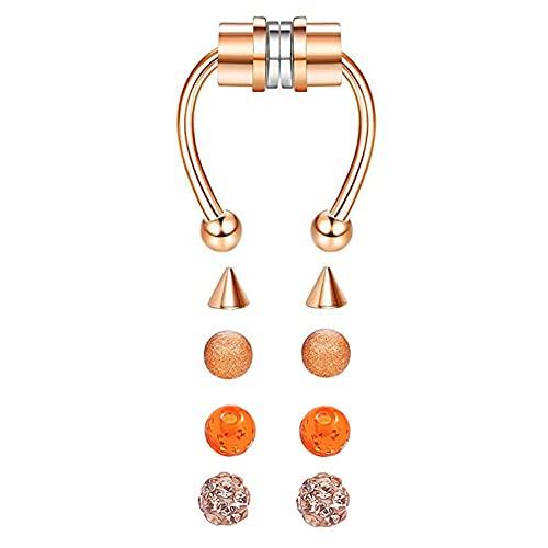 1 paquete de anillo de nariz falsa forma de herradura anillo de nariz de acero inoxidable anillo magnético para la nariz accesorios portátiles, aro reutilizable para la nariz