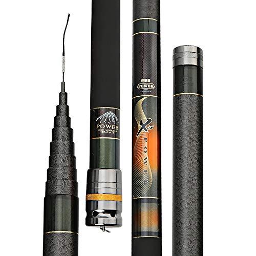 H.Y.FFYH Teleskopstange Superharte Carbon Angelruten Superharte Carbon Stream Angelruten Werfen Sie Angelruten mit Stangen leicht Angeln (Color : Multi-Colored, Size : 12m)