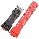 Cinturino in Silicone Compatibile concasio G-Shock GA-110 GD-100 GW-6900 Accessori per Braccialetto di Ricambio in Gomma Sportiva Impermeabile (Band Color : Black Red)