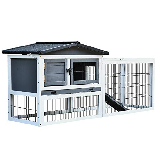 PawHut Solid Wood Rabbit Hutch with 2 House Levels and Patio Space, Strong Black Metal Cage Wire, and Easy Clean Tray