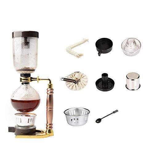 CENPEN Vakuum-Kaffeemaschine Haushaltsglas Syphon Syphon Manuelle Kaffeemaschine Syphon Pot Kaffee-Set Set Syphon Pot (für DREI Personen) (Farbe: Rosa, Größe: 35.5x13.5cm)