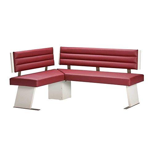 Pharao24 Esstisch Eckbank in Rot Kunstleder Creme Weiß Breite 180 cm Tiefe 140 cm 6 Sitzplätze