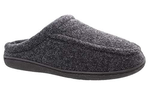 buyAzzo Pantuflas para hombre, zapatillas de casa para invitados | cálidas pantuflas de felpa | comodidad para el hogar | suela antideslizante BA291 | Talla 41-46, color Negro, talla 43 EU
