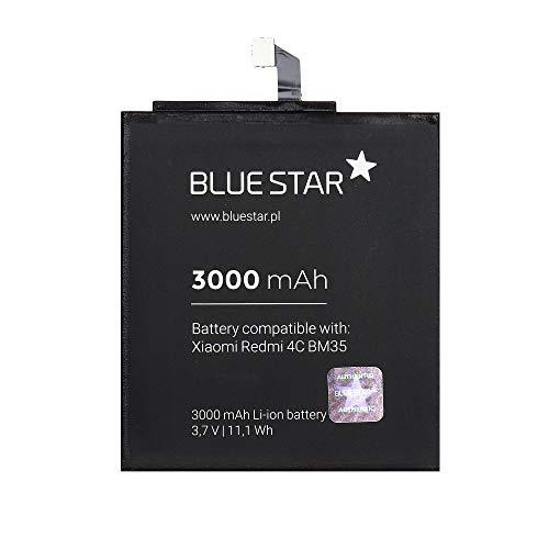 Blue Star Premium - Batería de Li-Ion Litio 3000 mAh de Capacidad Carga Rapida 2.0 Compatible con el Xiaomi Redmi 4C (BM35)