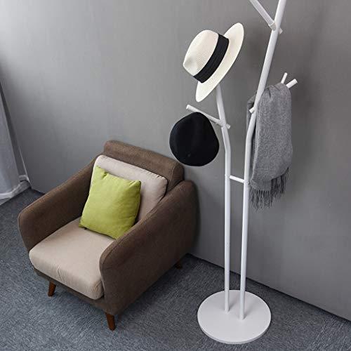 Witte metalen kapstok hanger, moderne multifunctionele Hall boom verwijderbare gratis staande paraplu stand industriële meubels met 8 haken, voor entryway slaapkamer kantoor