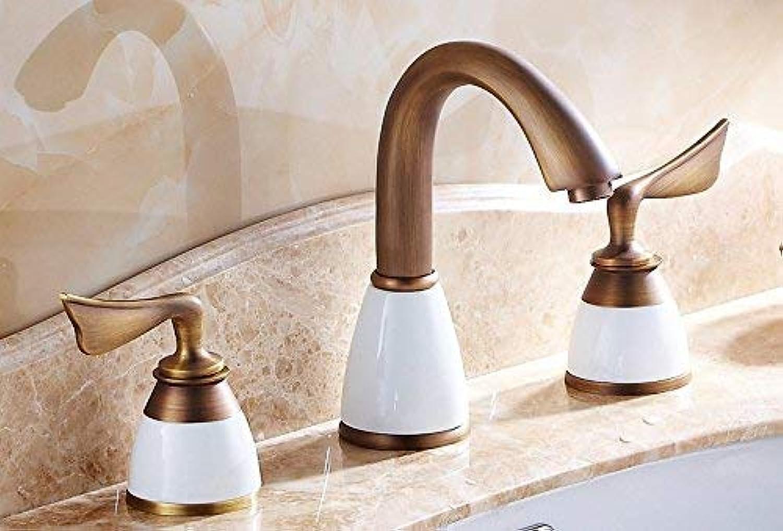CFHJN Home Waschtischarmaturen Warmes und kaltes Badezimmer im Goldenen Becken im europischen Stil