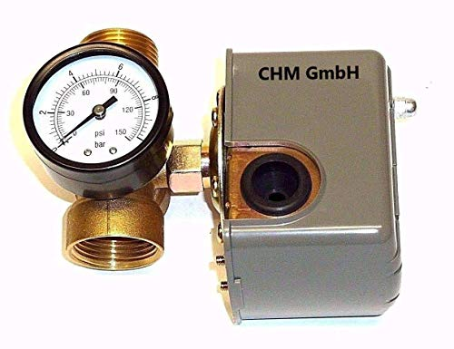 CHM GmbH Druckschalter Gartenpumpe/Hauswasserwerk + 5-Wege-Verteiler Druckregler Druckwächter f. Druckkessel