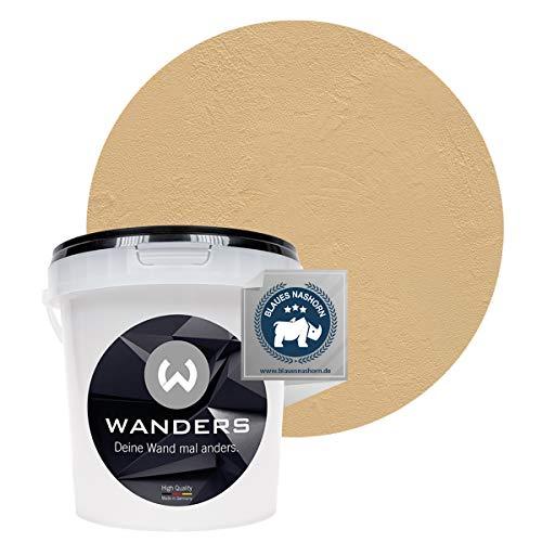 Wanders24 Venezia Stein-Optik (1 Liter, Creme) Wandfarbe zum Spachteln, 6 Farbtöne erhältlich, Italien für Zuhause, Strukturpaste Made in Germany