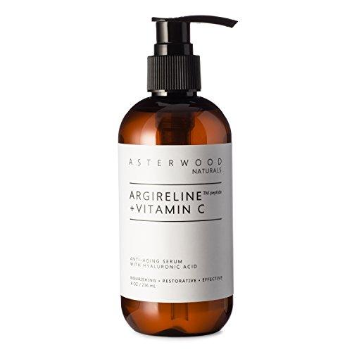 ARGIRELINE Peptide + Vitamin C 8 oz Serum with Organic Hyaluronic Acid, Anti Aging, Amazing Sun Damage Repair and Botox Alternative ASTERWOOD NATURALS Pump Bottle