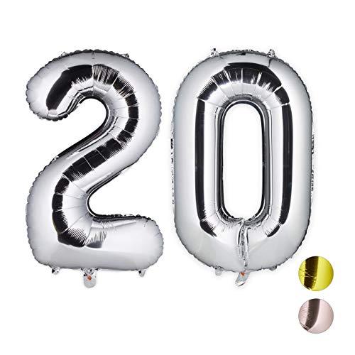 Relaxdays Folienballon 20, Deko für Geburtstag, Jubiläum, Hochzeitstag, 85-100 cm, XXL Zahlen Luftballon, Silber, H x B x T: ca. 85 x 50 x 17 cm